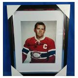 Framed print of Maurice Richard with facsimile
