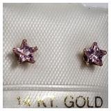 155- 14k yellow gold pink CZ earrings $100