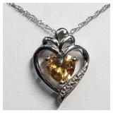 157- sterling silver citrine pendant/necklace $100