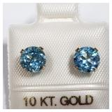 169- 10k yellow gold blue topaz earrings $200