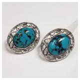 184- sterling silver turquoise earrings $400