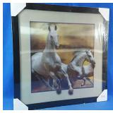 New 17x17 framed horse hologram picture