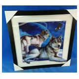 New 17x17 inch framed hologram wolf picture