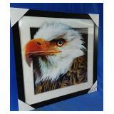 New 17x17 framed hologram eagle picture