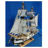 New Wooden sail boat decor on stand