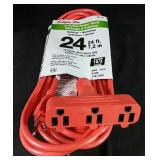 New 24 foot 3-Outlet HD outdoor extension Cord