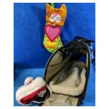 Small animal carrier with Santa hat and stocking