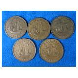 1940, 1941, 1942, 1944 & 1963 British 1/2 Penny