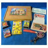 Vintage Game Lot includes a Wooden Puzzle, Old