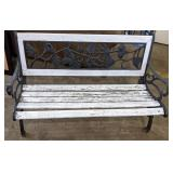 """Stunning wrought iron and wood bench 50.5"""" x 24"""""""