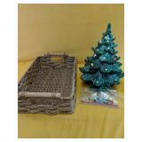Vintage ceramic Christmas tree with wind up,