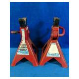 Two 3 Ton Jack Stands Power Lift Hydraulics