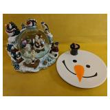 """Beautiful snowglobe 10""""H with snowman serving"""