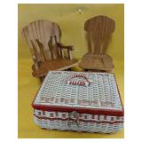 """Two mini doll chairs 8""""-10"""" and vintage sewing"""