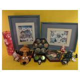 """Christmas Lot, including two framed prints 17"""" x"""