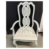 Destreased look dining chair with wicker inlay
