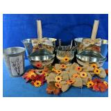Tin candy dishes with 5 scoops and burlap decor