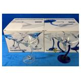 Two Sets of Four Martini Glasses Four with Blue