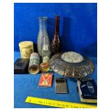Home Decor Lot, including collector bottles,