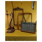 Wooden candelabra, vintage magazine rack and two