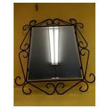 "Wrought iron framed mirror 24"" x 28"""
