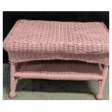 """Pink Wicker Table with Shelf measures 28"""" x 18"""" x"""