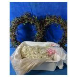 """Two decor wreaths 16"""" with strings of sequence"""