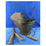 Antique coal ash bucket with shovel, shears and