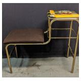 Vintage Telephone Stand with Upholstered Seat &