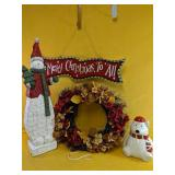 """""""Merry Christmas To All"""" sign 23"""", snowman f"""
