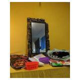 Halloween window decor, decorative ribbon, framed
