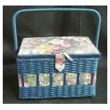 Sewing basket with contents, including patterns,