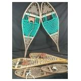 Two adult and one child sized snowshoes