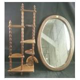"""Framed oval mirror 16"""" x 23"""" & wall shelf"""
