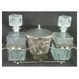 Vintage 4 piece decanter set
