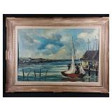 Framed sail boat painting 44x32 inches