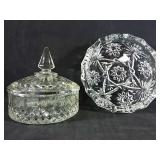 Vintage cut glass covered dish and ash tray
