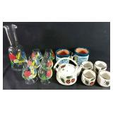 Hand painted Carafe and glasses, Chinese tea set