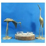 2 brass birds and candle holder