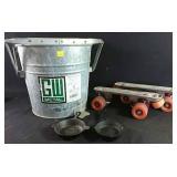 Vintage roller skates, 12 litre metal mop pail