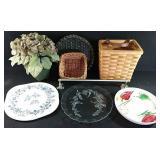 3 woven baskets, 3 decorative platters, towel