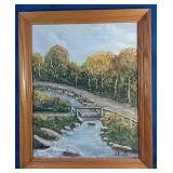 23x19 framed hand painting of a river and walking