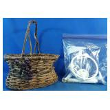 Wicker basket with bathroom towel holder and