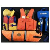 Set of 4 brand name life jackets including one