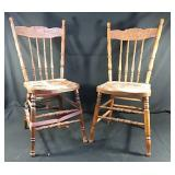 2 solid wood chairs, one is in need of repair