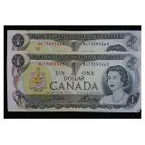 Two Consecutive 1973 Canada One Dollar Bills