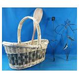 Wicker basket with extra door and wall decor