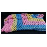 "Hand Crocheted blanket 50x80"" - very clean"