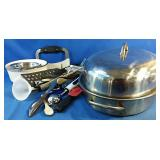 Kitchen lot including stainless steel roaster