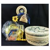 Woven basket and extras